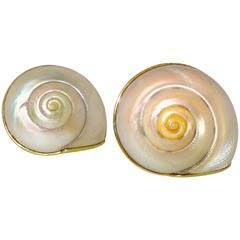 Andrew Clunn Unusual yellow gold Shell Earrings