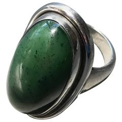 Georg Jensen Sterling Silver Ring No 46E with Jade by Harald Nielsen