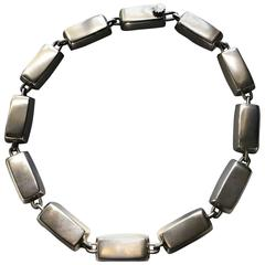 "Hans Hansen Sterling Silver ""Block"" Necklace, circa 1950"