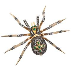 Emerald Diamond Pink and Yellow Gold Handcrafted Spider Brooch
