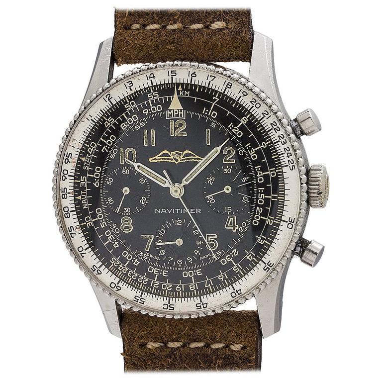 Breitling Stainless Steel Navitimer Aopa Beaded Bezel Black Wristwatch Ref 806