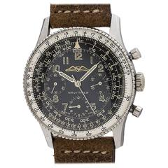Breitling stainless steel Navitimer Aopa Beaded Bezel Black wristwatch, ref 806