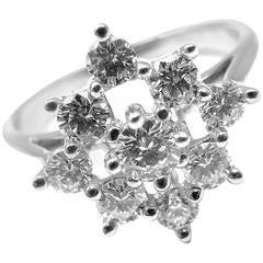 Tiffany & Co. Diamond Cluster Cocktail Platinum Ring