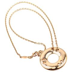 Hermes Paris Round H Yellow Gold Pendant Necklace