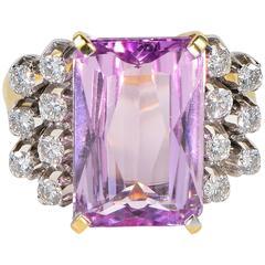 8.60 Carat Natural Kunzite 1.40 Carat Diamond Ring