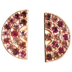 Rose Gold Tourmaline Big Fan Earrings