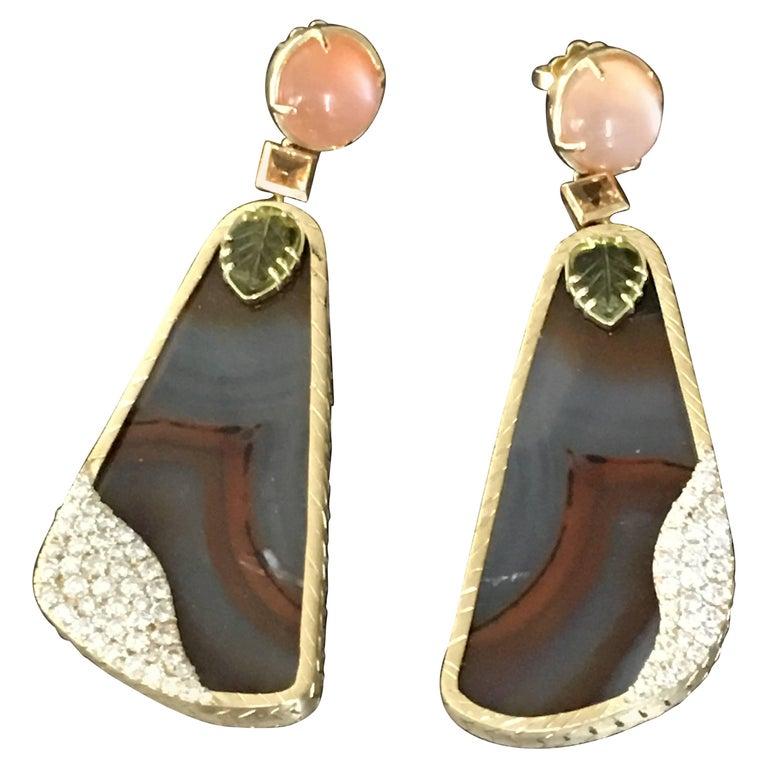 Montana Agate Slice Adularia Tourmaline Sapphire Diamonds Gold Petra Earrings