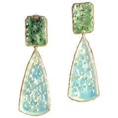 Antiques Jade Carved Opal Gold Philosopher Promenade Earrings