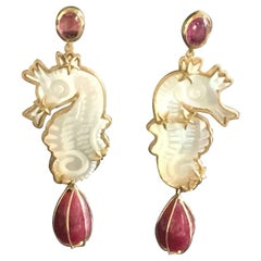 Sea Horses Earrings Ruby Drop Carved Mother-of-Pearl Tourmaline Gold