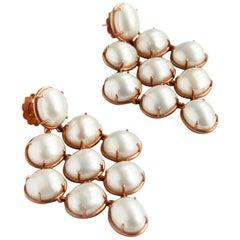 Kyushu Earrings Rose Gold White Pearls