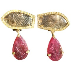 Fish Earrings Tourmaline Diamonds Tourmaline Carved Drops Gold