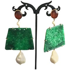 Carved Jade Gold Dangle Amber  Earrings Baroque Pearls
