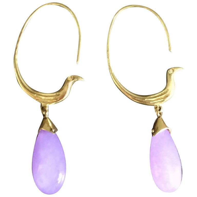 Drop Earrings Paradise Bird Shape Gold Lavander Jade Drop