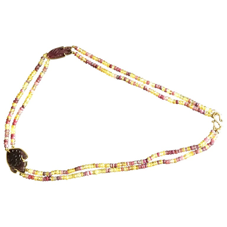 Carved Tourmaline Fish Necklace Ruby Sapphire Gold