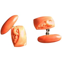 Antiques Japanese Carved Coral Kiku Cufflinks Linked in Silver