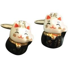 Lucky Tween Cufflinks Japanies Ceramic Silver