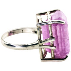 Gemjunky Impressive Oversized 22.06 Carat Kunzite Sterling Silver Cocktail Ring