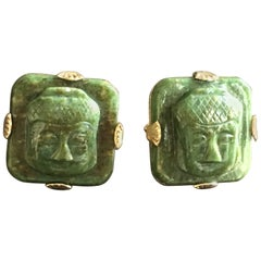 Yalokiam Cufflinks Carved Antiques Jade