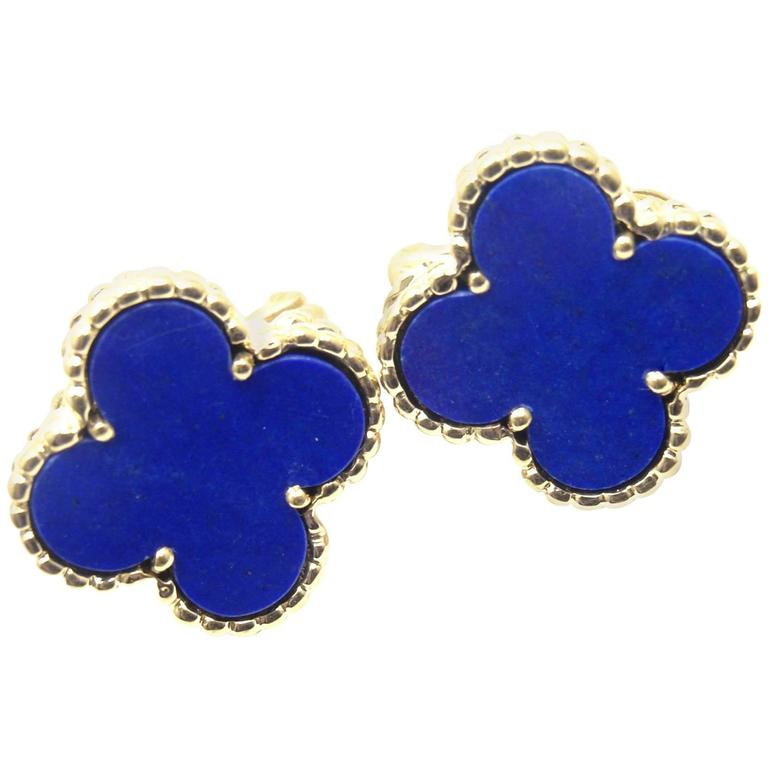 new id gold l arpels condition lapis and drop j jewelry cleef van earrings as alhambra long magic in lazuli for