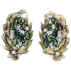 Tailored Wheat Design Tourmaline Diamond Yellow Gold Earrings