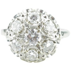1950s Diamond Cluster Cocktail Ring