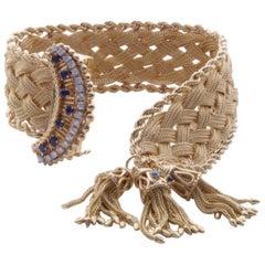 Retro 14 Karat Yellow Gold Diamond and Sapphire Tassel Buckle Bracelet