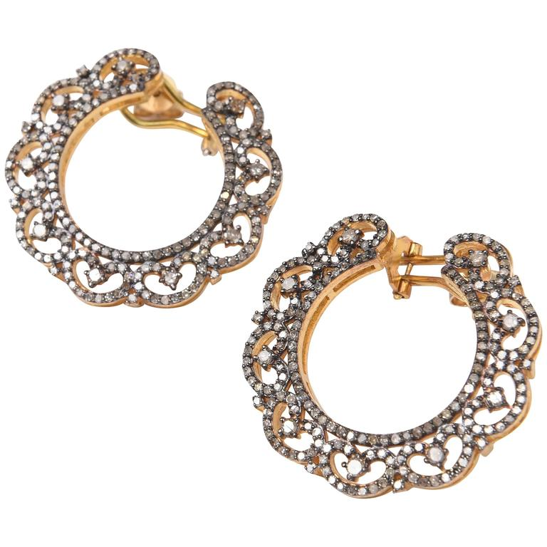 Unusual Diamond Wreath Earrings