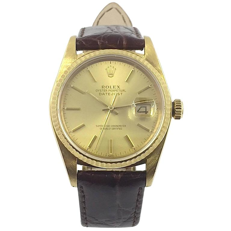 Rolex  Yellow Gold Oyster Perpetual Datejust Wristwatch, 1980s