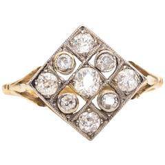 1915 Edwardian .60 Carat Old Mine Diamond, Platinum, 18 Karat Gold Ring