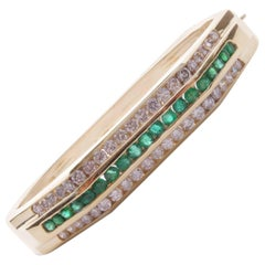 Modern 14 Karat Yellow Gold Diamond and Emerald Hexagon Bangle