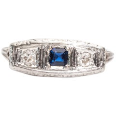 1930s Edwardian Simulated Sapphire, Old Mine Diamond and White Gold Ring