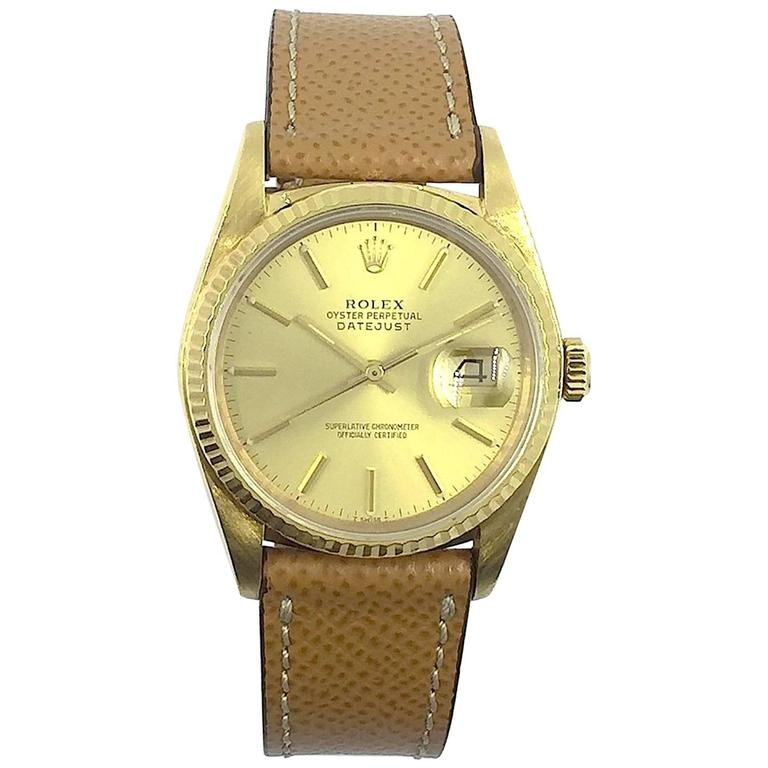 311aacea432 Rolex Yellow Gold Oyster Perpetual Datejust Wristwatch, 1980s For Sale