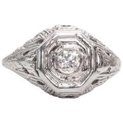 1940s 0.25 carat Old European Diamond and 14 karat White Gold Engagement Ring