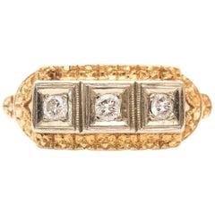 1920 Art Deco Three-Stone Diamond Two-Tone 14 Karat Gold Ring