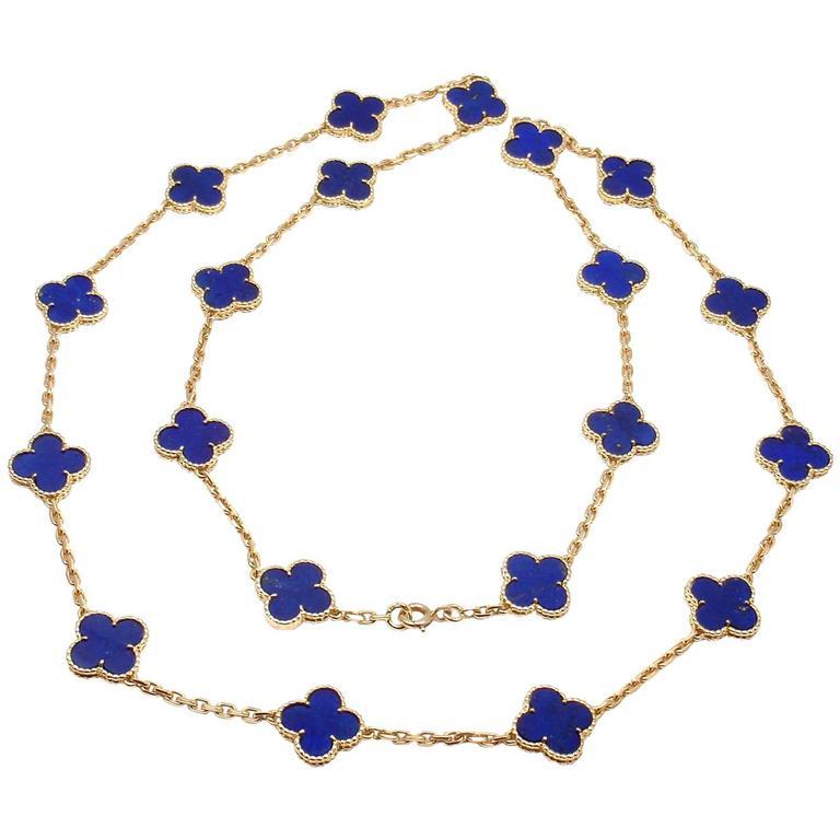 Van Cleef & Arpels Vintage Alhambra Lapis Lazuli 20 Motif Yellow Gold Necklace 1