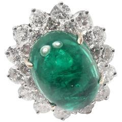 Craig Drake Large Emerald Diamond White Gold Cocktail Ring