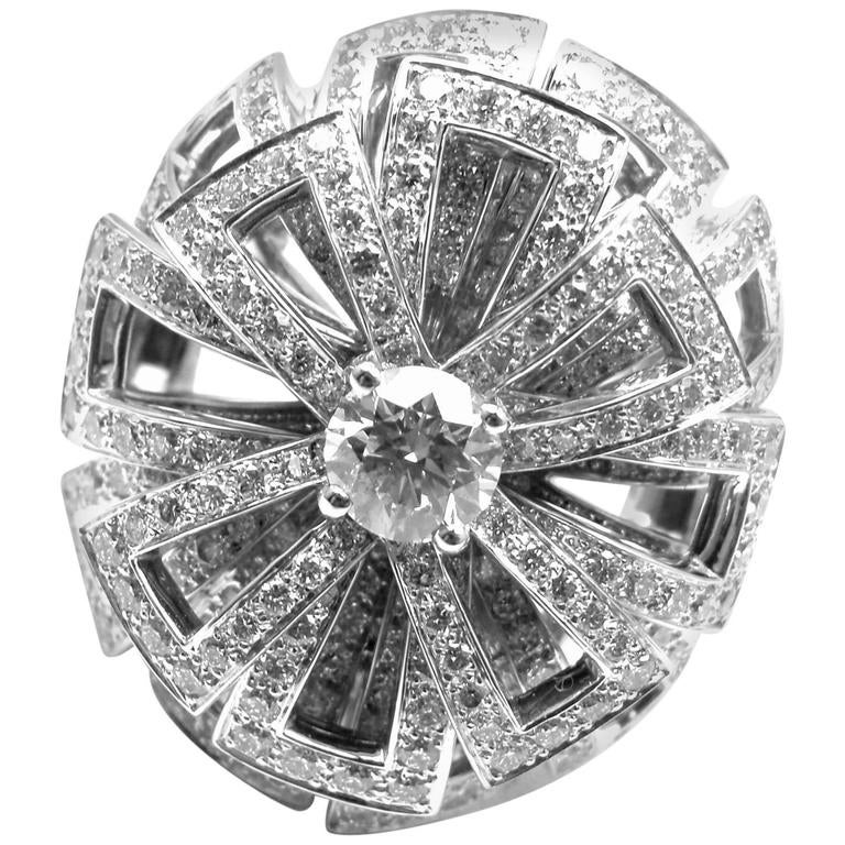 Chanel Diamond Large White Gold Flower Ring For Sale