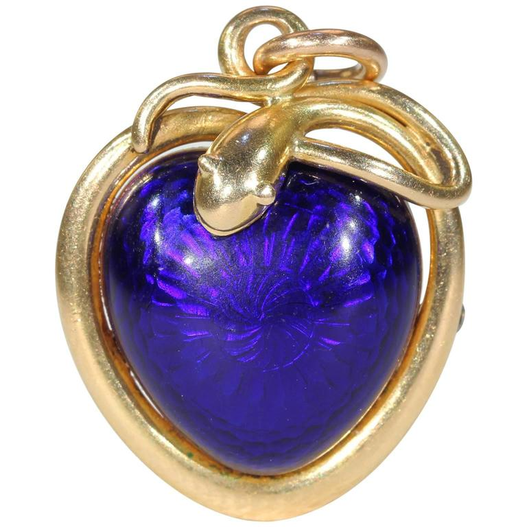 Victorian Blue Enamel Snake Heart Pendant Necklace, 1851 For Sale