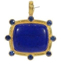 Elizabeth Locke Lapis Lazuli Sapphire Gold Pendant