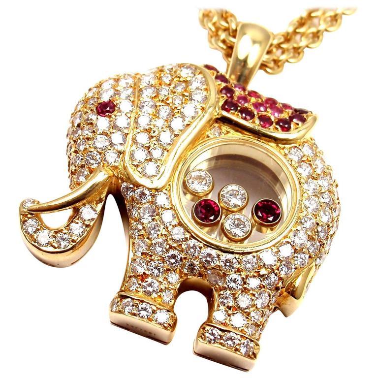 Chopard Diamond Sapphire Happy Elephant Yellow Gold Pendant Necklace For Sale