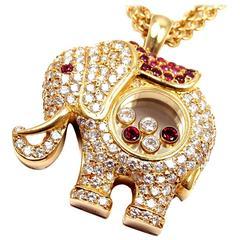 Chopard Happy Elephant Diamond Ruby Large Yellow Gold Pendant Necklace