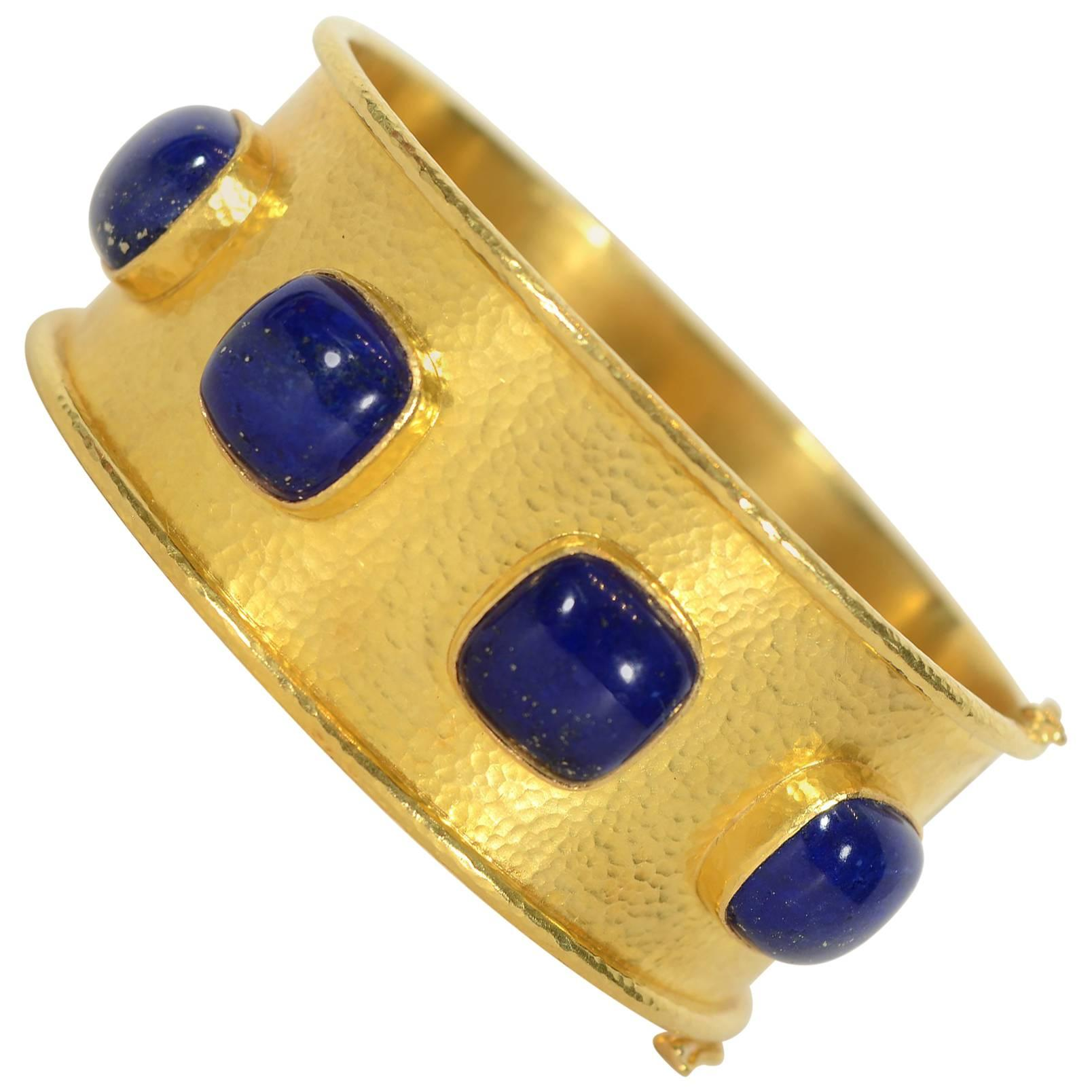 Elizabeth Locke Lapis Lazuli Wide Gold Bracelet