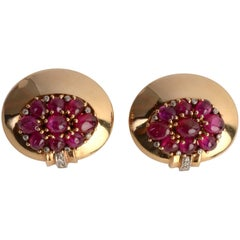 Retro Trabert and Hoeffer Mauboussin Ruby Gold Earrings