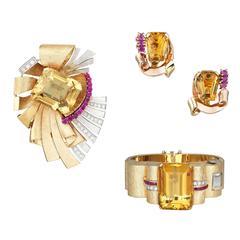 Retro Emerald Cut Citrine Citrine Ruby Diamond Gold Suite