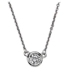 Bezel Set Diamond Solitaire in White Gold Necklace