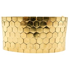 Hexagonal Bricklink Gold Cuff Bracelet