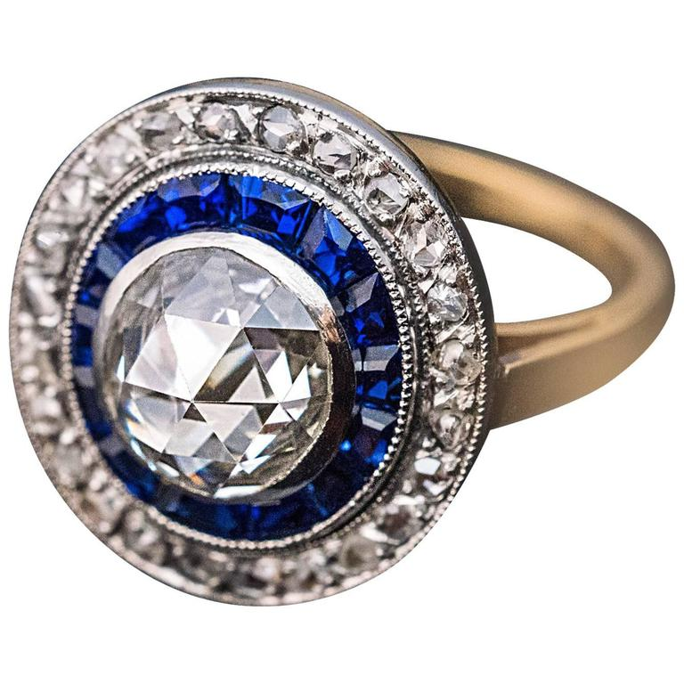 Antique Rose Cut Diamond Calibre Sapphire Engagement Ring 1