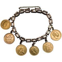 Antique Old European Gold Coin Bracelet