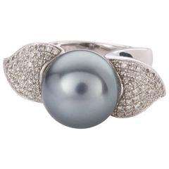 Tahitian Pearl and Diamond 14 Karat White Gold Dress Ring