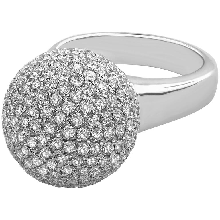 3.10 Carat Round Cut Natural Diamond White Gold Cocktail Ring 1